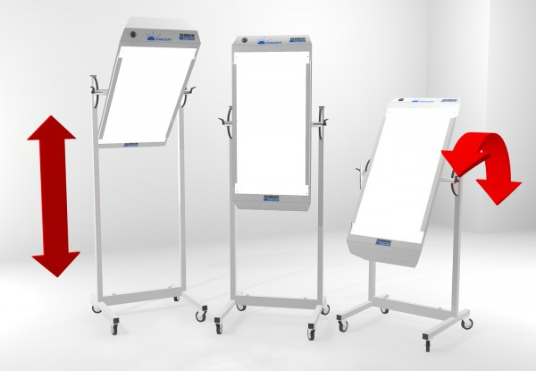 Ein Sunlight-Licht-/Farblichttherapiegerät auf einem Stativ montiert